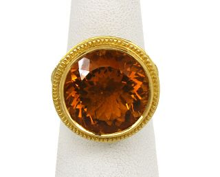Konstantino 18K Gold 12 Ct Citrine Gem Ladies Dress Ring