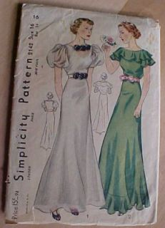 1930s Simplicity 2142 Party Graduation Gown Dress Bertha Collar Womens