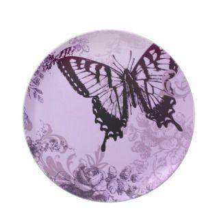 Elegan purple vinage buerfly dinner plae