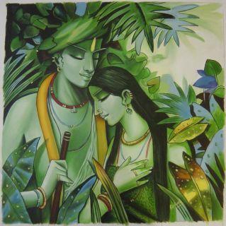 Lord Krishna Radha Handmade Modern Oil Painting Hindu Religious God