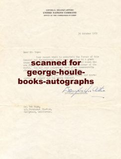Douglas MacArthur Letter 1950 Bob Hope Korea