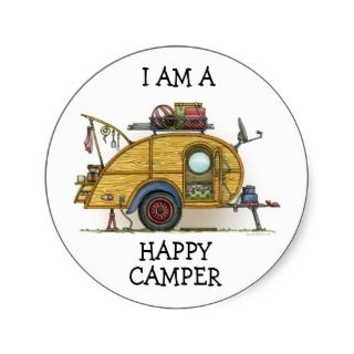 Cute RV Vintage Teardrop Camper Travel Trailer Round Sticker