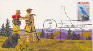 Idaho Statehood 1890 Mountain Bluebird Hand Drawn & Painted Art Kober