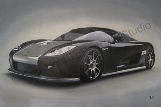 Koenigsegg CCX Black SA 2006 Canvas Oil Art Painting