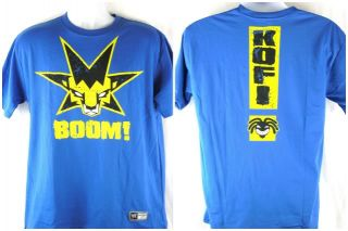 Kofi Kingston Blue Boom Star WWE T Shirt New