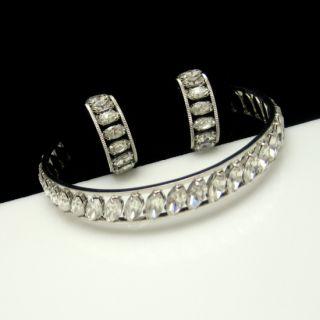 Krementz Vintage Bangle Bracelet Rhodium Plated Rhinestones Hoop