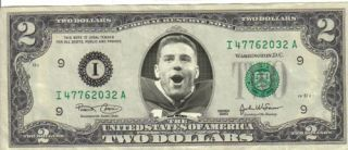Arizona Cardinals Kurt Warner $2 Dollar Bill Mint! Rare! $1 St. Louis