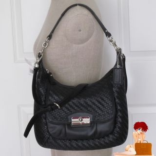 New Authentic Coach Kristin Woven Leather Hobo Bag Purse Black 19314 $
