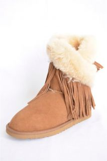 Koolaburra Brown Fringe Syndee Sheepskin Shearling Fur Ankle Boot New