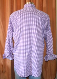 Thomas Dean TD Purple White Cotton Button Down Checkered Shirt Mens