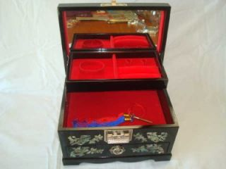 Vtg Korea Inlaid MOP Birds Lacquer Jewelry Box Music