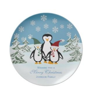 Penguin Personalized Family Christmas Plate