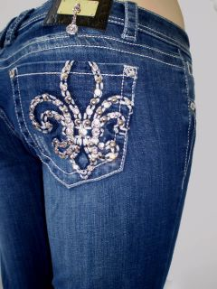 Women La Idol Bootcut Jeans Leather Tribal Rhinestone Fleur de Lis