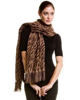 La Fiorentina Beige Wool Wrap with Rabbit Fur