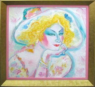 Earl Linderman La Belle Blonde Original Oil Painting on Canvas Make