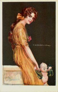 Corbella Artist Signed Glamour Pretty Woman Kewpie Vintage Postcard