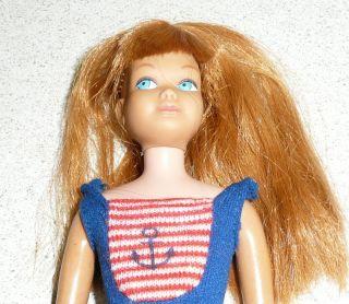 Vintage 1960s Mattel Barbie Bend Leg Skipper Redhead Doll w Stand