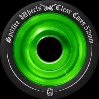 Spitfire Clearcore Skate Wheels 54mm Black Bright Green Skateboard