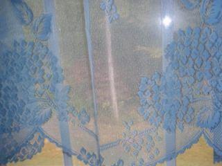 Light Blue Sky Hydrangea Lace Valance Curtain Panel Tier 62 x 30
