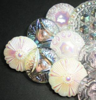 15 Lacey Pink White Czech Glass Buttons Mixed Lot Iridescent Luster