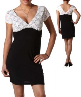 New Liquid Rifty White Lacey Black Empire Waist V Neck Surplice Dress