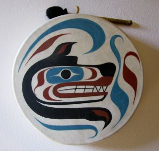 Makah ~ Northwest Coast Native American Indian DRUM signed Sallawish