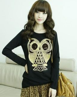 Fashion Lady Owl Printed Women Long Sleeve T Shirt 2 Color Free