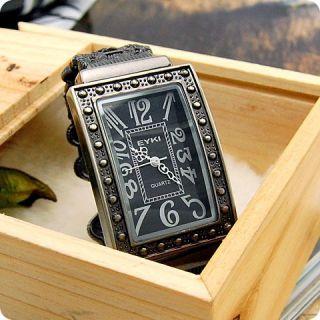 Ladies Retro Vintage Antique Square Bangle Bracelet Black Wrist Watch