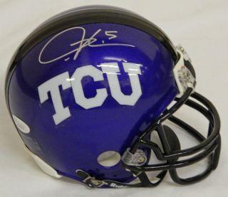 LADAINIAN TOMLINSON Signed TCU Horned Frogs Riddell Mini Helmet   JSA