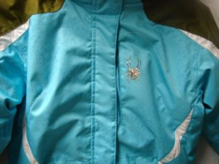 Spyder Kyds Girls Mynx Snow Ski Jacket Aqua Print White Turf Size 10