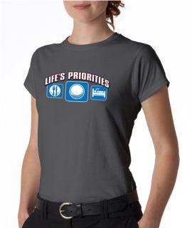 Lifes Priorities Golf Funny Ladies Tee Shirt