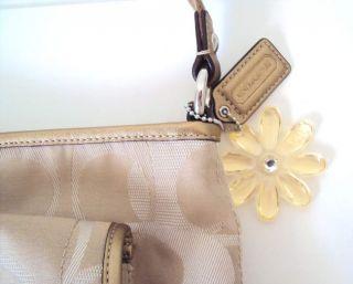 Coach Signature Kyra Khaki Gold Crossbody Bag Purse 19680