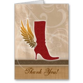 Thank You Card w/ fun Angel Wing Red Boot