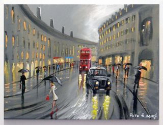 Pete Rumney Art London Downpour Black Taxi Cab Red Bus Umbrellas Rain