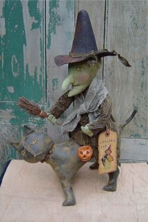 Primitive Folk Art Halloween Witch Doll Riding A Black Cat Craft