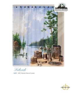 New Creative Bath Lakeside Ducks Birds Hautman Fabric Shower Curtain