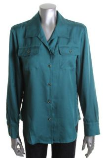 Jones New York New Green Long Sleeve Button Down Collared Blouse Top L