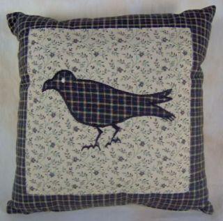 Country Black Tan Applique Crow Kettle Grove Accent Pillow 10x10