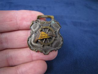 Vintage Lake Huntington Ships Wheel Pocket Watch Fob