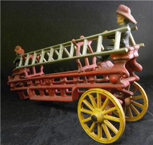 Metal Painted Fire Men Ladder Truck Cart Antique Toy Wagon NR