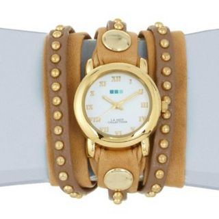 La Mer Collections Camel Gold Bali Stud Wrap Watch Womens LMSW3003