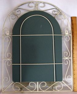 Vintage Wire Cage Wall Mirror w 2 Candle Holders Hinged Doors to Cover