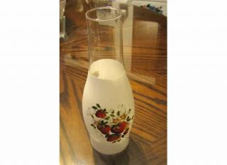 STRAWBERRIES HURRICANE LAMP KEROSENE 10 H FROSTED GLASS GLOBE SHADE