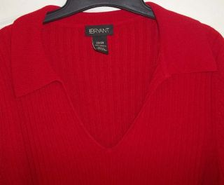 Lane Bryant Rich Deep Red Nice Collar Long Sweater 22 24 2X