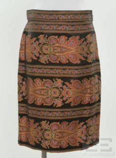 Christian Lacroix 2Pc Cranberry & Gold Brocade Jacket & Skirt Suit Set
