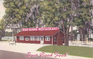Red Barn Restaurant Lake Hiawatha Vintage Postcard