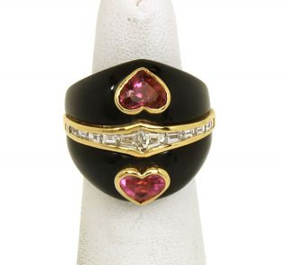 18K Gold Diamonds Black Onyx Heart Cut Gems Ladies Stylish Ring