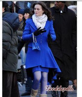 New Womens Coat Swallowtail Wool Blue Jacket XS s M L XL