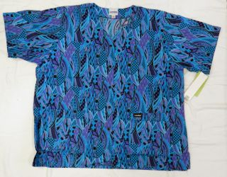Landau 8232 Teal Purple Black Snap Front Medical Uniform Scrub Top 2X