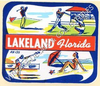 Vintage Lakeland Florida State Souvenir Travel Decal Auto Water